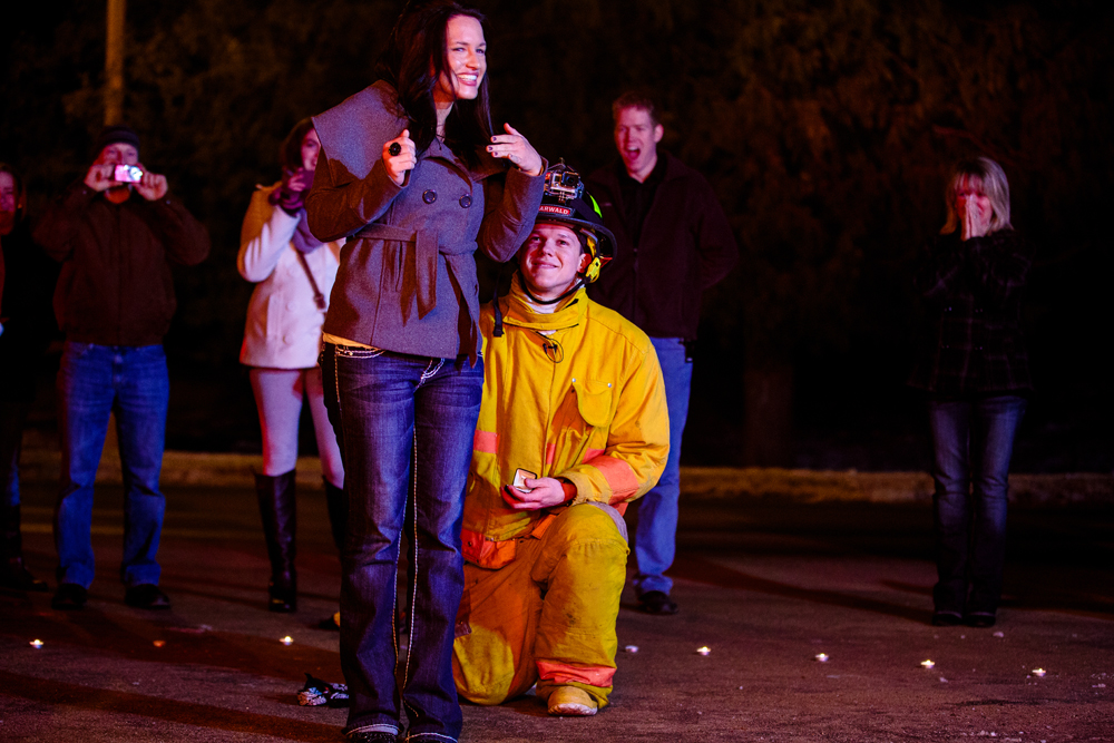 LA CROSSE WI WEDDING PHOTOGRAPHER TRAVELS TO PICKWICK MN TO SHOOT PROPOSAL OF A FIRE FIGHTER