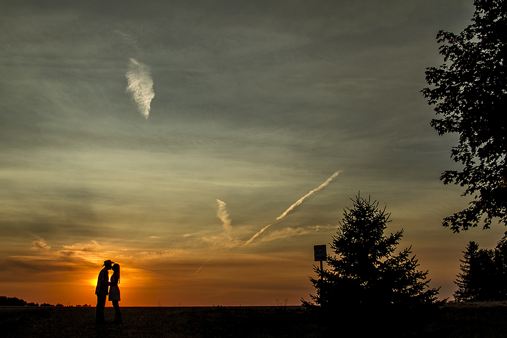 Country Sunset Engagement Photo