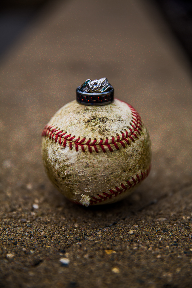 Rustic baseball wedding ring photo