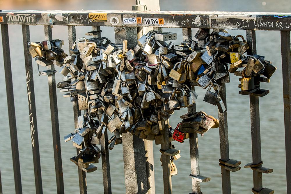 Stockholm Vasterbron Bridge keys