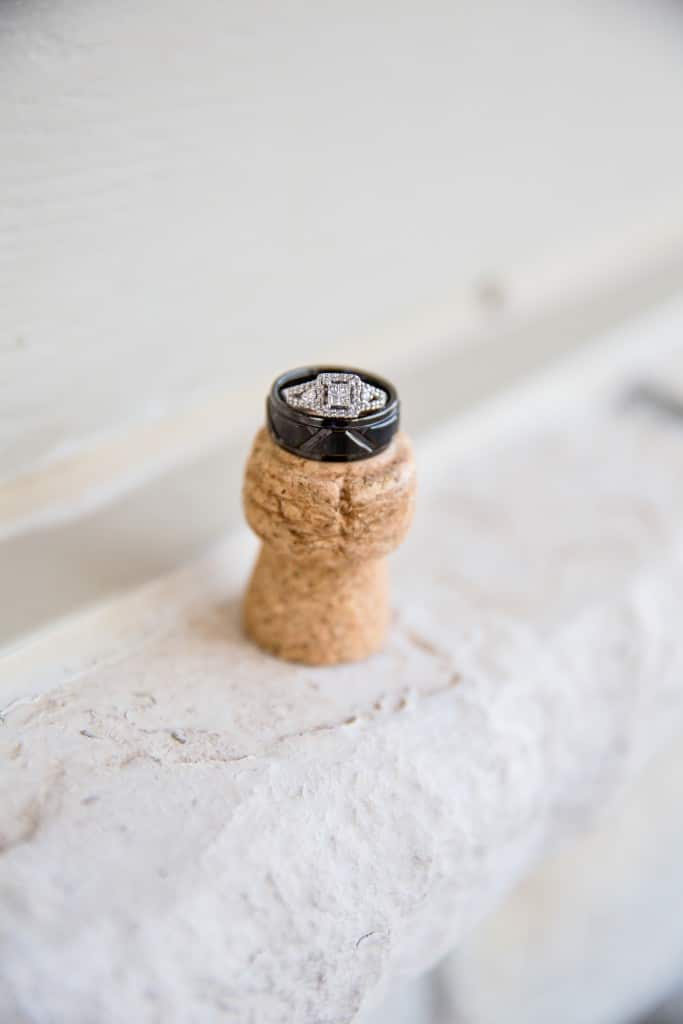 wedding ring on cork