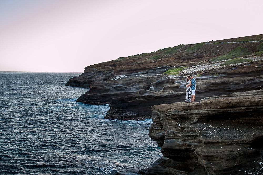 cali couple on rock in oahu