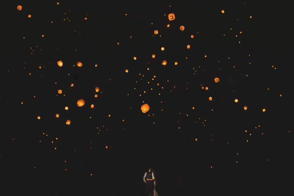 Chinese Lantern Send off at a wedding