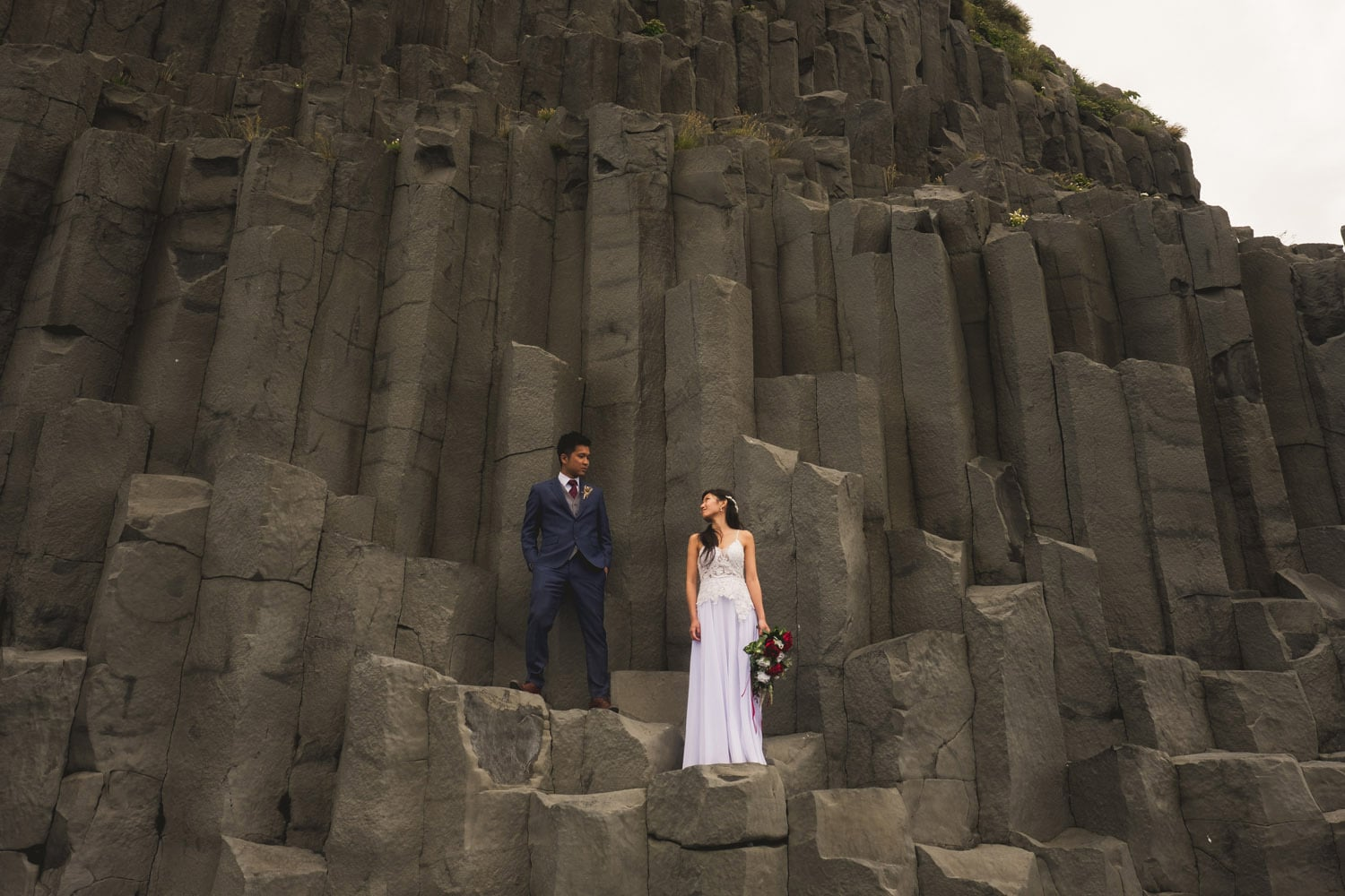 Iceland Wedding Photographer Couple on rock